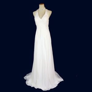 NWT MORRELL MAXIE Off-White Ruched Beaded Halter